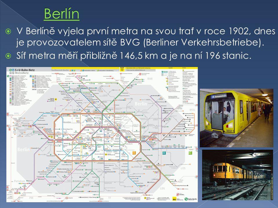  V Berlíně vyjela první metra na svou trať v roce 1902, dnes je provozovatelem sítě BVG (Berliner Verkehrsbetriebe).