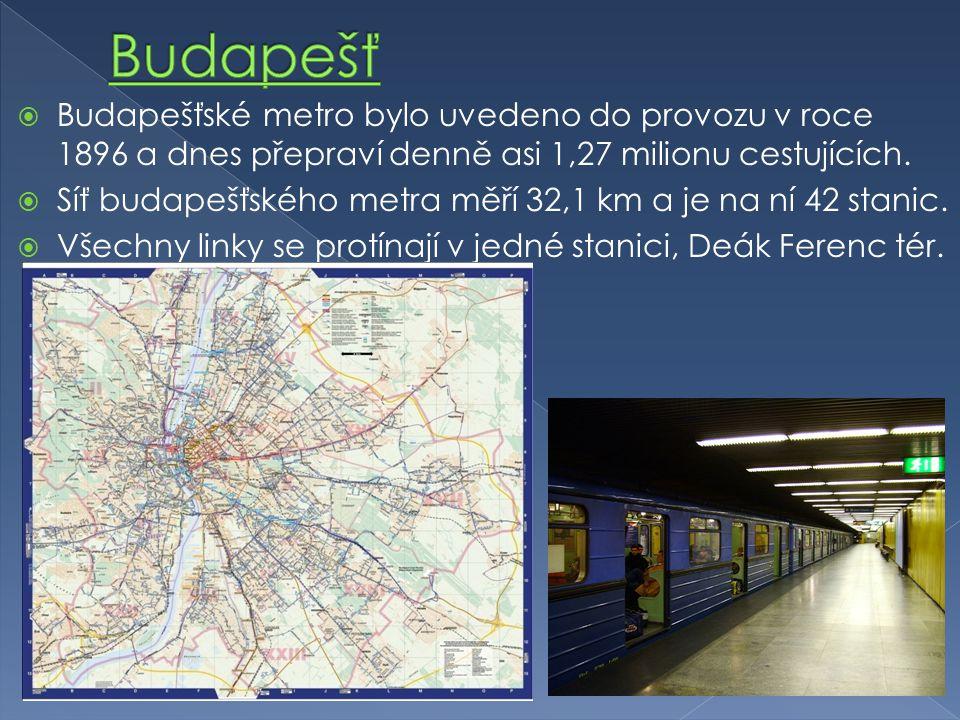  Budapešťské metro bylo uvedeno do provozu v roce 1896 a dnes přepraví denně asi 1,27 milionu cestujících.