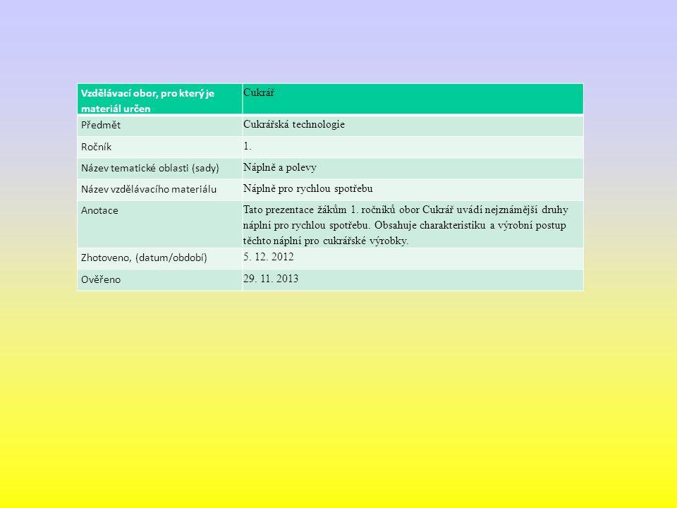 Vzdělávací obor, pro který je materiál určen Cukrář Předmět Cukrářská technologie Ročník 1. Název tematické oblasti (sady) Náplně a polevy Název vzděl