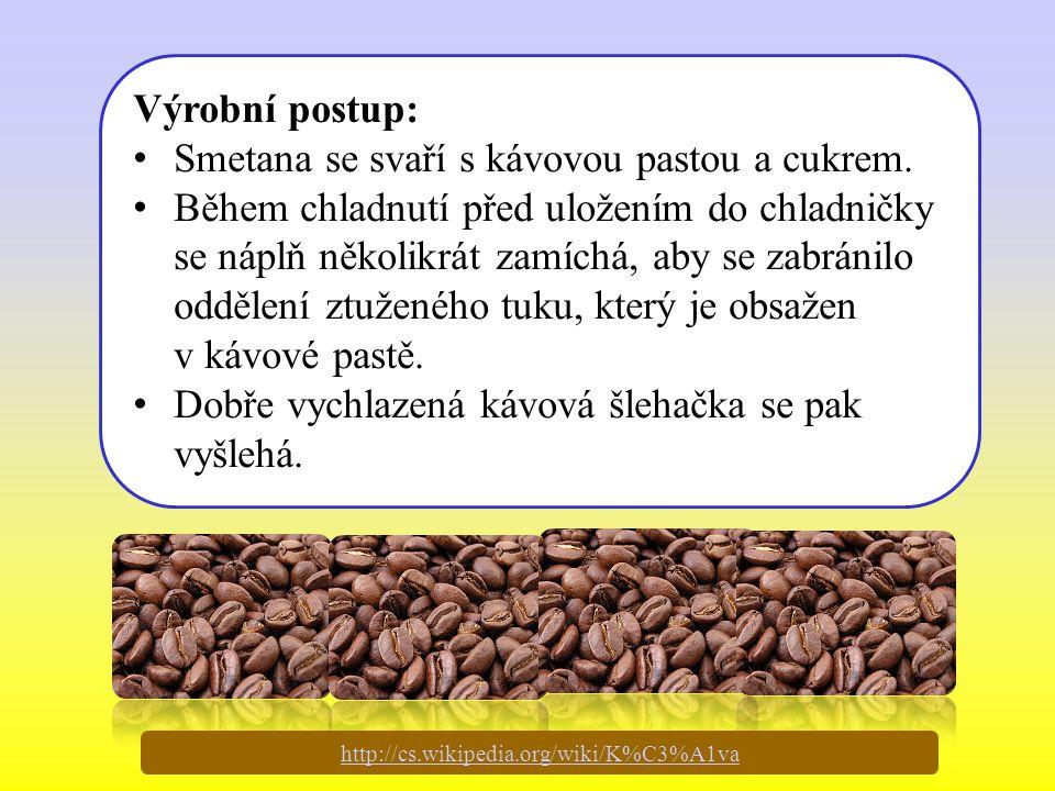 Výrobní postup: Smetana se svaří s kávovou pastou a cukrem. Během chladnutí před uložením do chladničky se náplň několikrát zamíchá, aby se zabránilo