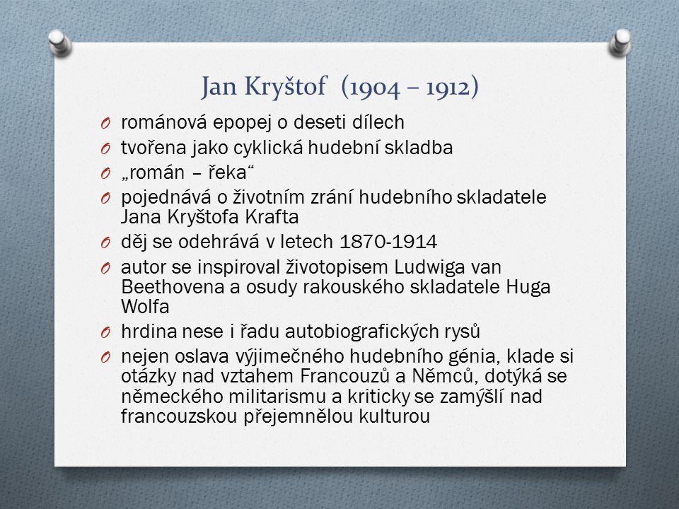 """Jan Kryštof (1904 – 1912) O románová epopej o deseti dílech O tvořena jako cyklická hudební skladba O """"román – řeka"""" O pojednává o životním zrání hude"""