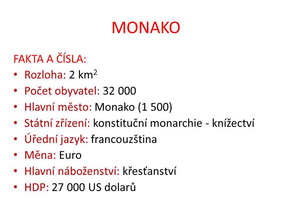 MONAKO FAKTA A ČÍSLA: Rozloha: 2 km 2 Počet obyvatel: 32 000 Hlavní město: Monako (1 500) Státní zřízení: konstituční monarchie - knížectví Úřední jaz