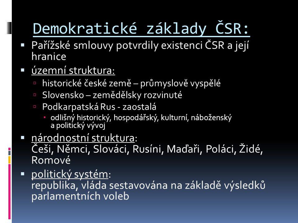 Demokratické základy ČSR:  Pařížské smlouvy potvrdily existenci ČSR a její hranice  územní struktura:  historické české země – průmyslově vyspělé 