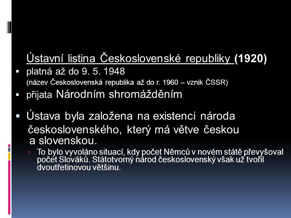 Ústavní listina Československé republiky (1920)  platná až do 9. 5. 1948 (název Československá republika až do r. 1960 – vznik ČSSR)  přijata Národn