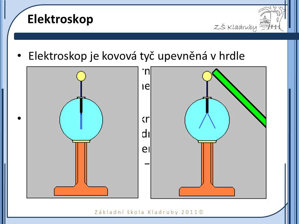Základní škola Kladruby 2011  Elektroskop Elektroskop je kovová tyč upevněná v hrdle skleněné baňky, na horním konci je kulička nebo destička, na dolním 1 nebo 2 proužky vodivé fólie.