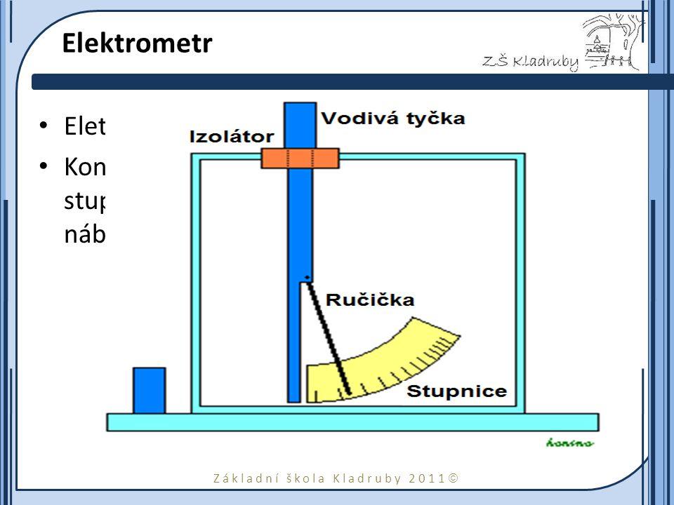 Základní škola Kladruby 2011  Elektrometr Eletrometr slouží k měření elektrického náboje. Konstrukce: k elektroskopu je připojena stupnice pro měření
