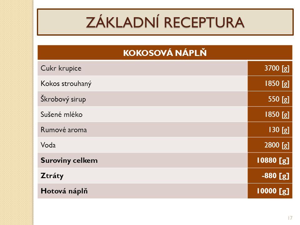 17 ZÁKLADNÍ RECEPTURA KOKOSOVÁ NÁPLŇ Cukr krupice3700 [g] Kokos strouhaný1850 [g] Škrobový sirup550 [g] Sušené mléko1850 [g] Rumové aroma130 [g] Voda2