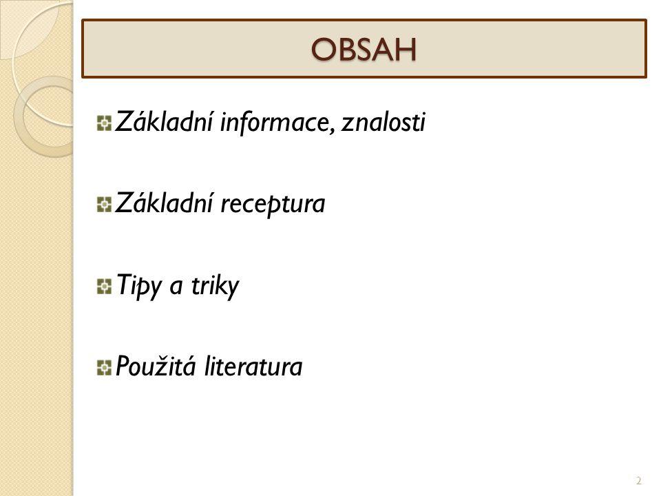 2 OBSAH Základní informace, znalosti Základní receptura Tipy a triky Použitá literatura