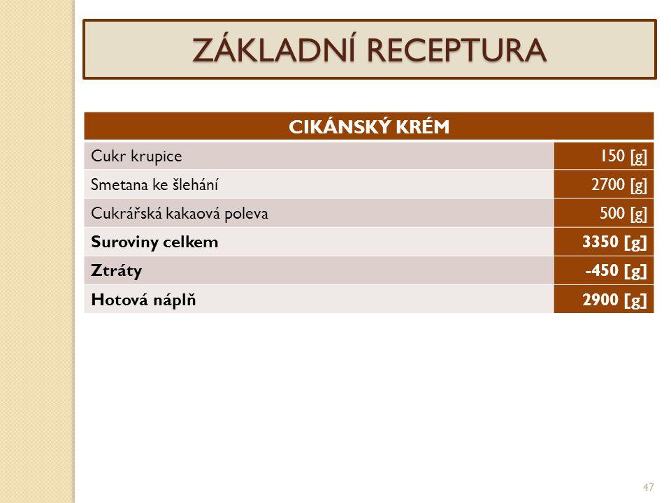 47 ZÁKLADNÍ RECEPTURA CIKÁNSKÝ KRÉM Cukr krupice150 [g] Smetana ke šlehání2700 [g] Cukrářská kakaová poleva500 [g] Suroviny celkem3350 [g] Ztráty-450