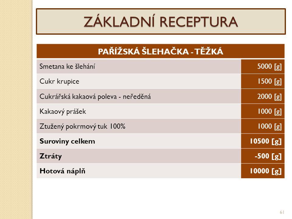 61 ZÁKLADNÍ RECEPTURA PAŘÍŽSKÁ ŠLEHAČKA - TĚŽKÁ Smetana ke šlehání5000 [g] Cukr krupice1500 [g] Cukrářská kakaová poleva - neředěná2000 [g] Kakaový pr