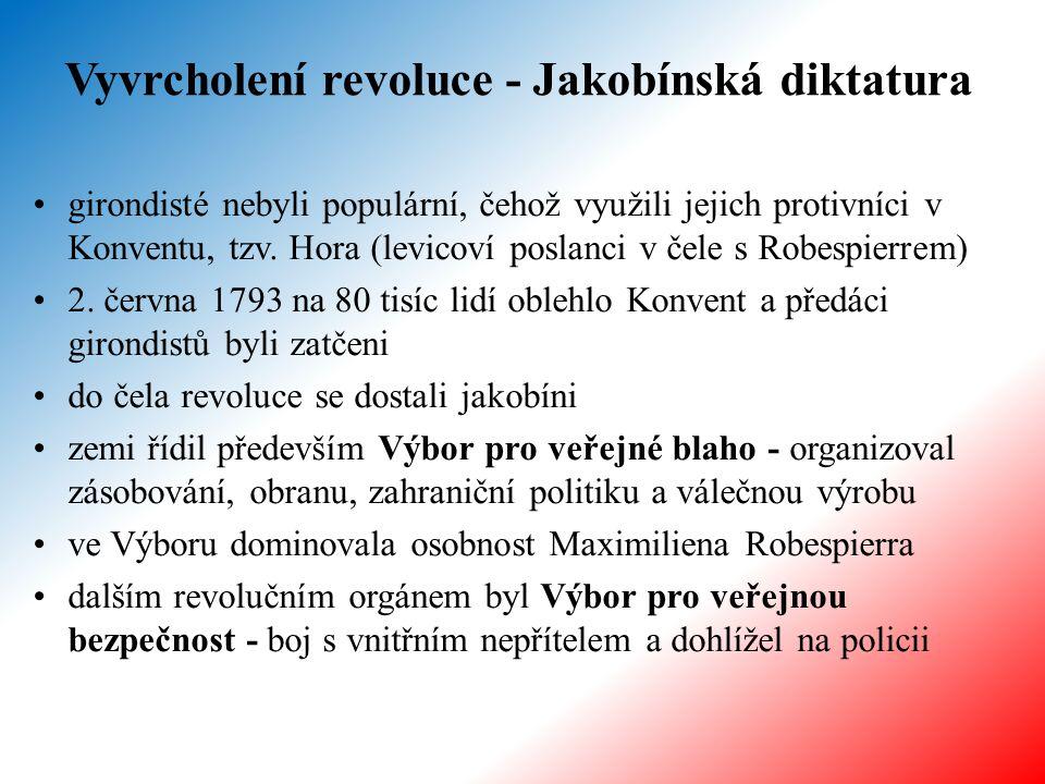 Vyvrcholení revoluce - Jakobínská diktatura girondisté nebyli populární, čehož využili jejich protivníci v Konventu, tzv.