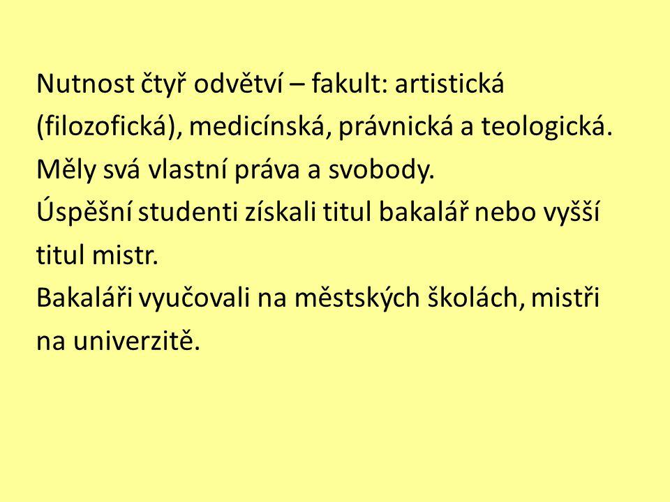 Nutnost čtyř odvětví – fakult: artistická (filozofická), medicínská, právnická a teologická. Měly svá vlastní práva a svobody. Úspěšní studenti získal