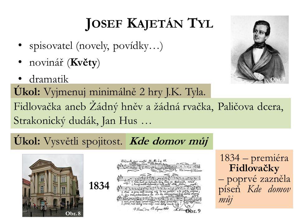 spisovatel (novely, povídky…) novinář (Květy) dramatik J OSEF K AJETÁN T YL Úkol: Vyjmenuj minimálně 2 hry J.K.