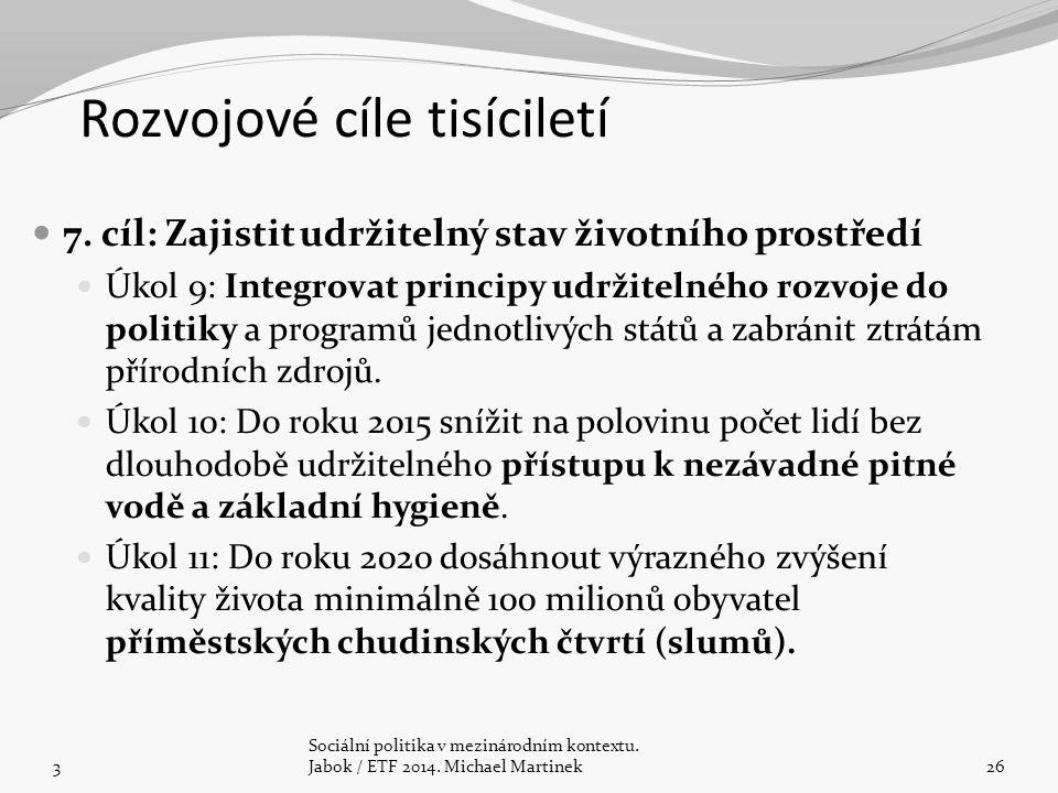 7. cíl: Zajistit udržitelný stav životního prostředí Úkol 9: Integrovat principy udržitelného rozvoje do politiky a programů jednotlivých států a zabr