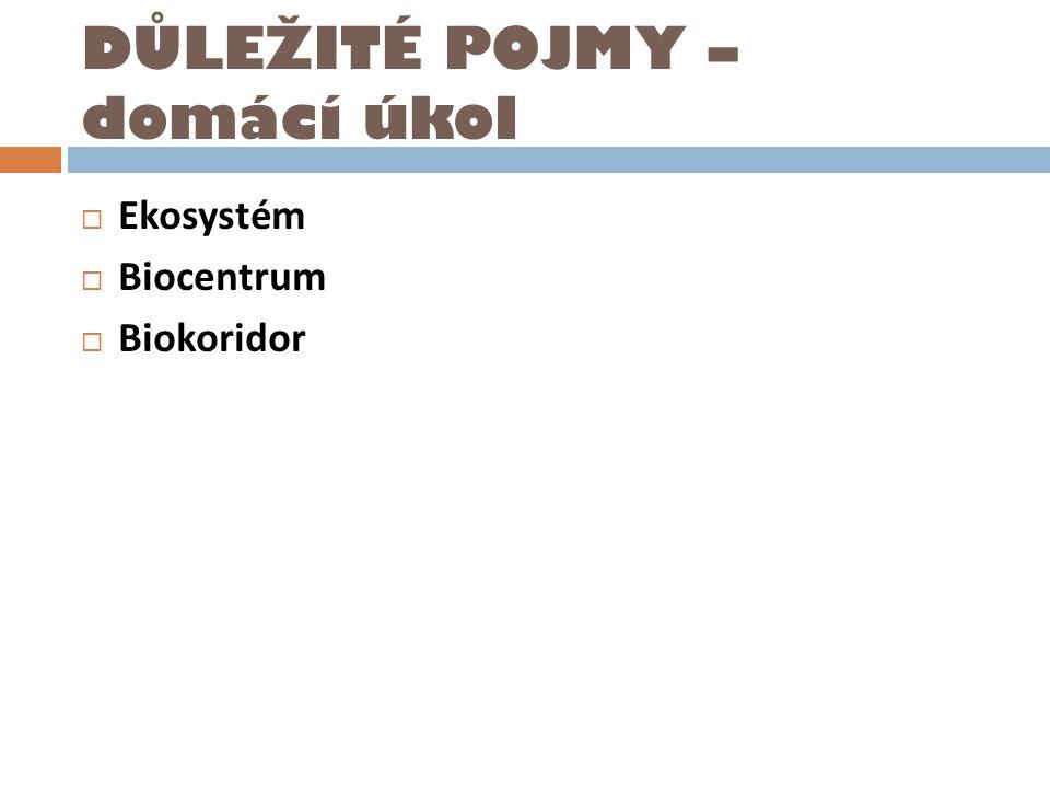 DŮLEŽITÉ POJMY – domácí úkol  Ekosystém  Biocentrum  Biokoridor