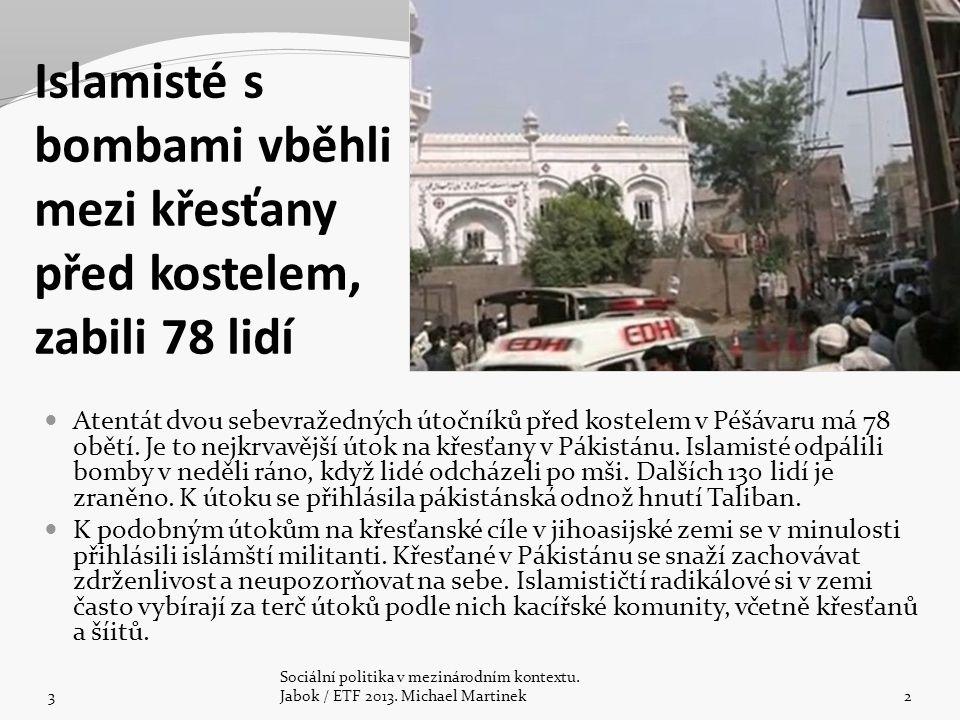 Islamisté s bombami vběhli mezi křesťany před kostelem, zabili 78 lidí Atentát dvou sebevražedných útočníků před kostelem v Péšávaru má 78 obětí.