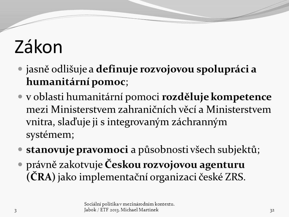 Zákon jasně odlišuje a definuje rozvojovou spolupráci a humanitární pomoc; v oblasti humanitární pomoci rozděluje kompetence mezi Ministerstvem zahraničních věcí a Ministerstvem vnitra, slaďuje ji s integrovaným záchranným systémem; stanovuje pravomoci a působnosti všech subjektů; právně zakotvuje Českou rozvojovou agenturu (ČRA) jako implementační organizaci české ZRS.