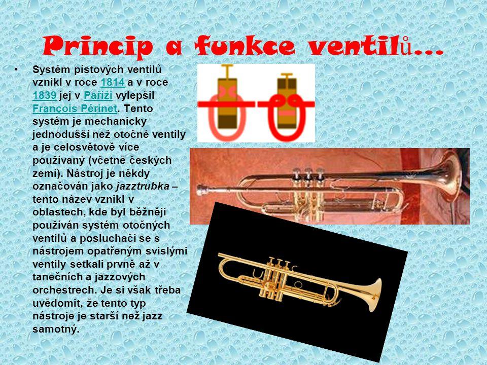 Princip a funkce ventil ů... Systém pístových ventilů vznikl v roce 1814 a v roce 1839 jej v Paříži vylepšil François Périnet. Tento systém je mechani