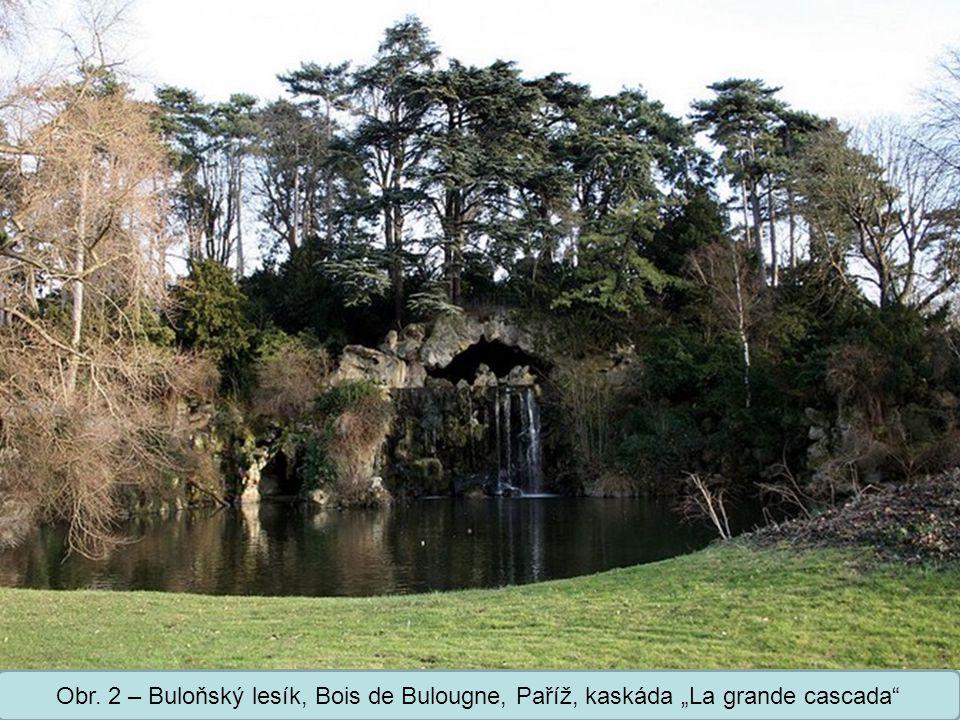 """Střední škola Oselce Obr. 2 – Buloňský lesík, Bois de Bulougne, Paříž, kaskáda """"La grande cascada"""