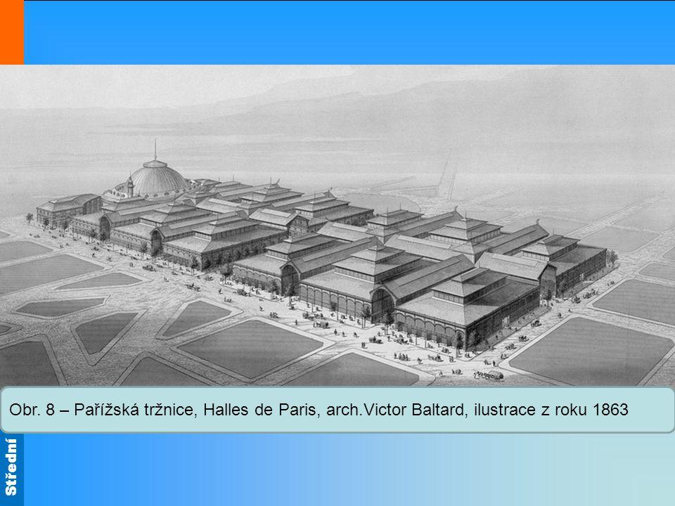 Střední škola Oselce Obr. 8 – Pařížská tržnice, Halles de Paris, arch.Victor Baltard, ilustrace z roku 1863