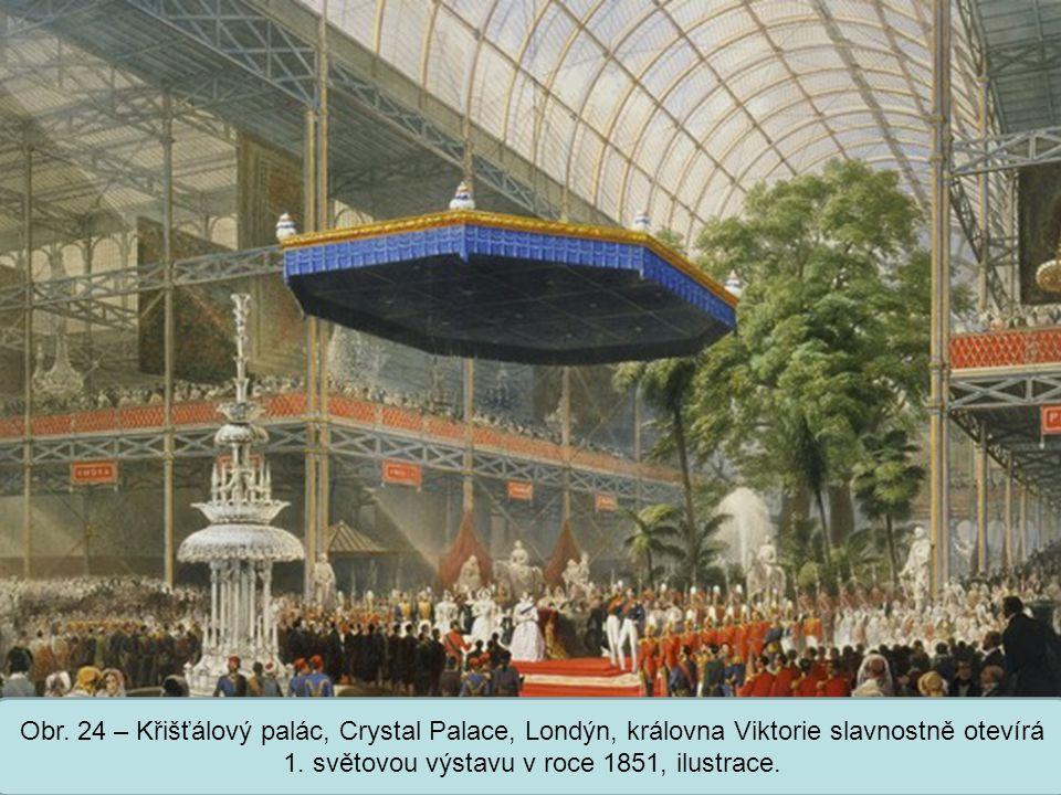 Střední škola Oselce Obr. 24 – Křišťálový palác, Crystal Palace, Londýn, královna Viktorie slavnostně otevírá 1. světovou výstavu v roce 1851, ilustra