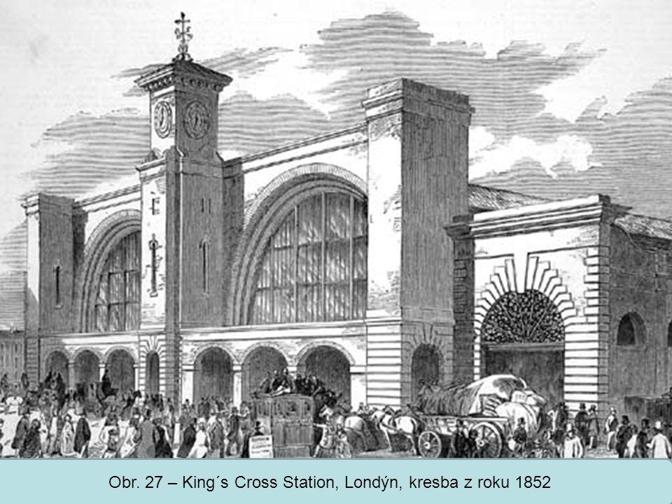 Střední škola Oselce Obr. 27 – King´s Cross Station, Londýn, kresba z roku 1852