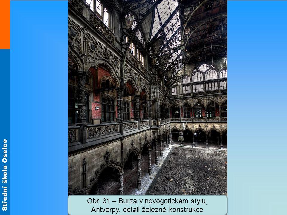 Střední škola Oselce Obr. 31 – Burza v novogotickém stylu, Antverpy, detail železné konstrukce