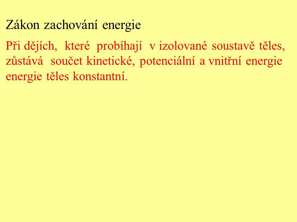 Zákon zachování energie Při dějích, které probíhají v izolované soustavě těles, zůstává součet kinetické, potenciální a vnitřní energie energie těles konstantní.