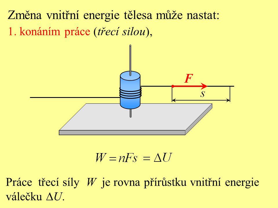 Práce třecí síly W je rovna přírůstku vnitřní energie válečku  U. Změna vnitřní energie tělesa může nastat: 1. konáním práce (třecí silou),
