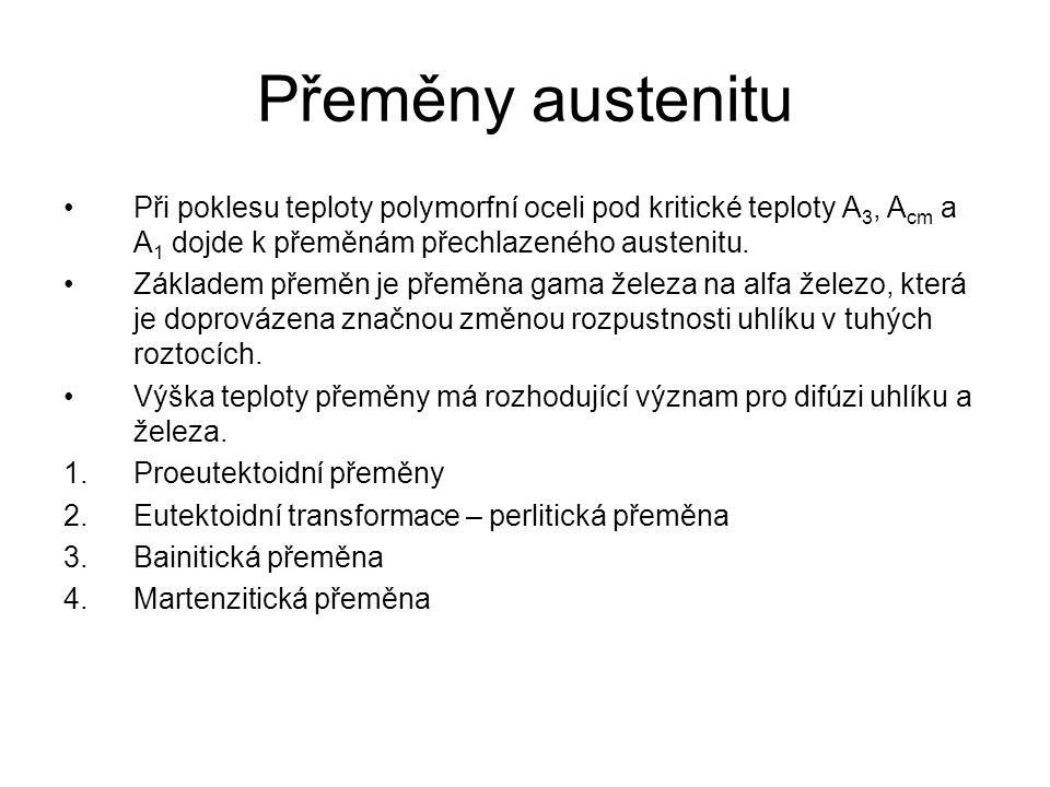 Proeutektoidní přeměny Existují u všech ocelí s výjimkou eutektoidní oceli (ocel s eutektoidní koncentrací uhlíku.