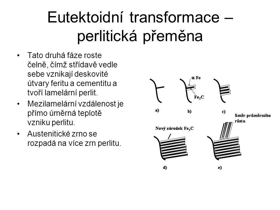 Eutektoidní transformace – perlitická přeměna Tato druhá fáze roste čelně, čímž střídavě vedle sebe vznikají deskovité útvary feritu a cementitu a tvo