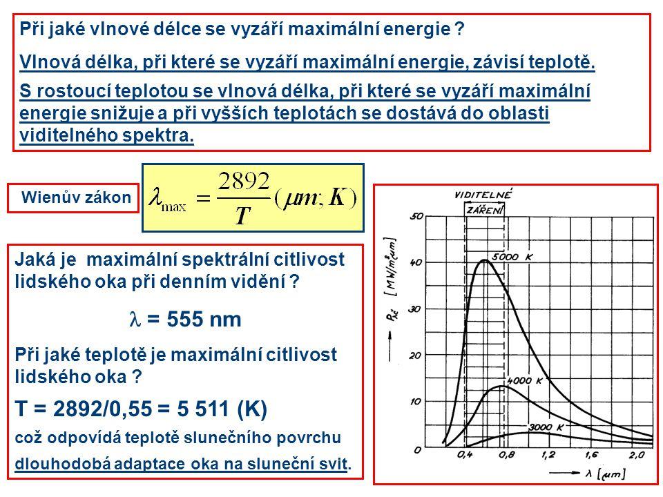 Při jaké vlnové délce se vyzáří maximální energie ? Vlnová délka, při které se vyzáří maximální energie, závisí teplotě. S rostoucí teplotou se vlnová