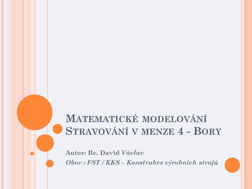 M ATEMATICKÉ MODELOVÁNÍ S TRAVOVÁNÍ V MENZE 4 - B ORY Autor: Bc.