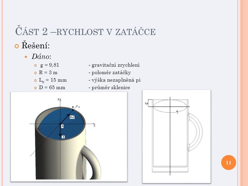 Č ÁST 2 – RYCHLOST V ZATÁČCE Řešení: Dáno : g = 9,81 - gravitační zrychlení R = 3 m- poloměr zatáčky L p = 15 mm- výška nezaplněná pi D = 65 mm - průměr sklenice 11