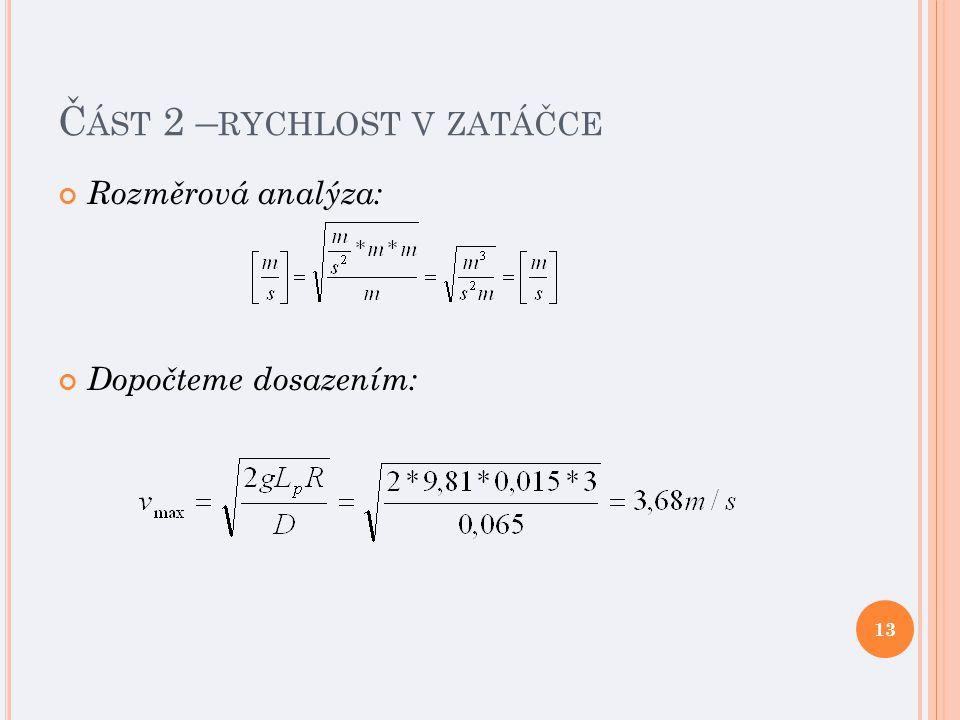 Č ÁST 2 – RYCHLOST V ZATÁČCE Rozměrová analýza: Dopočteme dosazením: 13