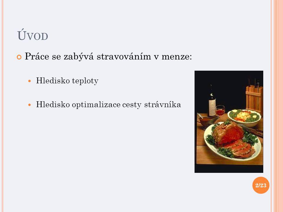 Ú VOD Práce se zabývá stravováním v menze: Hledisko teploty Hledisko optimalizace cesty strávníka 2/23