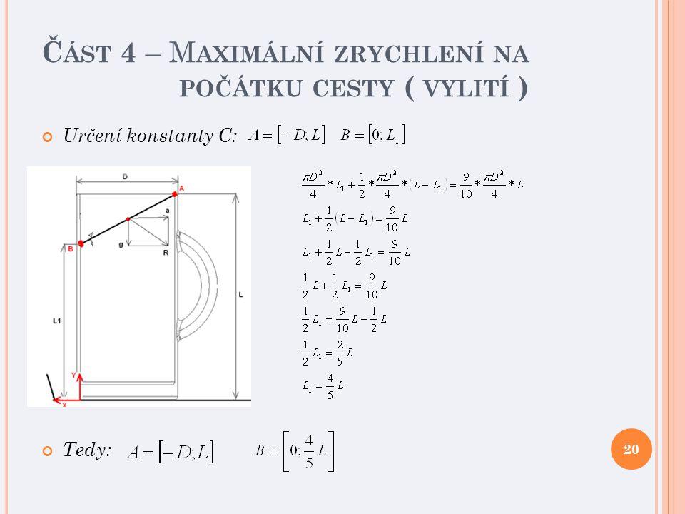 Č ÁST 4 – M AXIMÁLNÍ ZRYCHLENÍ NA POČÁTKU CESTY ( VYLITÍ ) Určení konstanty C: Tedy: 20