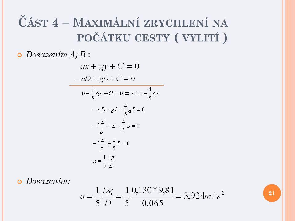 Č ÁST 4 – M AXIMÁLNÍ ZRYCHLENÍ NA POČÁTKU CESTY ( VYLITÍ ) Dosazením A; B : Dosazením: 21