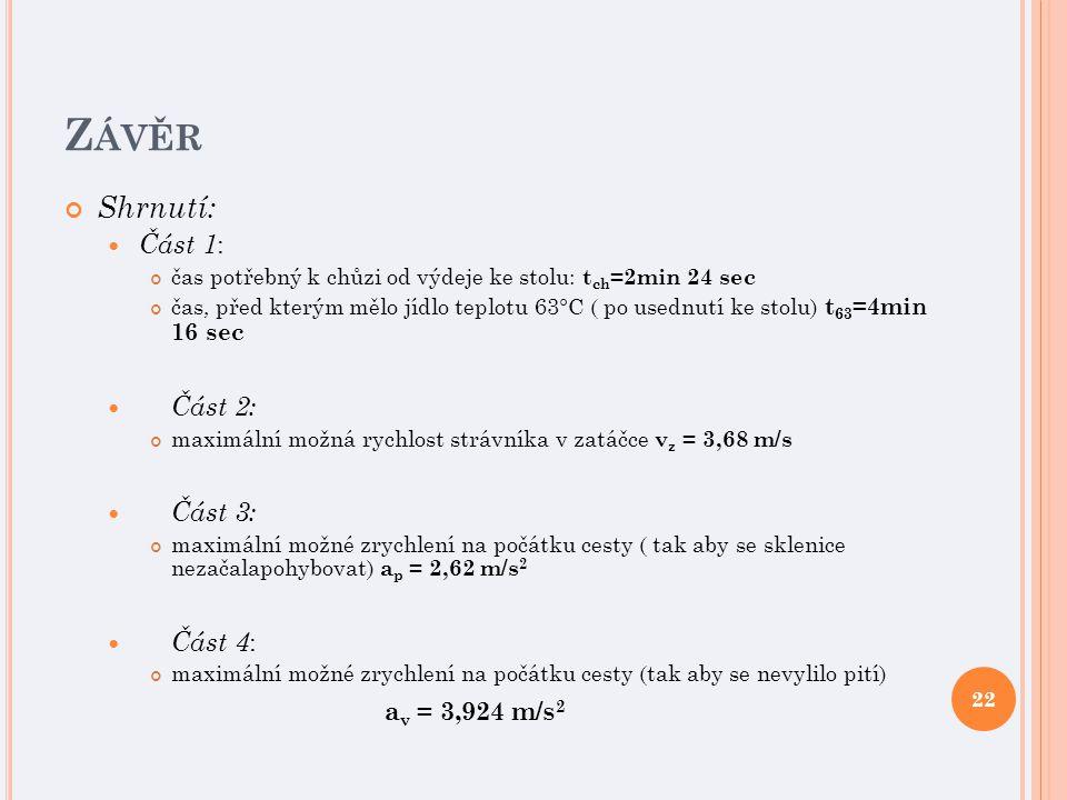 Z ÁVĚR Shrnutí: Část 1 : čas potřebný k chůzi od výdeje ke stolu: t ch =2min 24 sec čas, před kterým mělo jídlo teplotu 63°C ( po usednutí ke stolu) t 63 =4min 16 sec Část 2: maximální možná rychlost strávníka v zatáčce v z = 3,68 m/s Část 3: maximální možné zrychlení na počátku cesty ( tak aby se sklenice nezačalapohybovat) a p = 2,62 m/s 2 Část 4 : maximální možné zrychlení na počátku cesty (tak aby se nevylilo pití) a v = 3,924 m/s 2 22