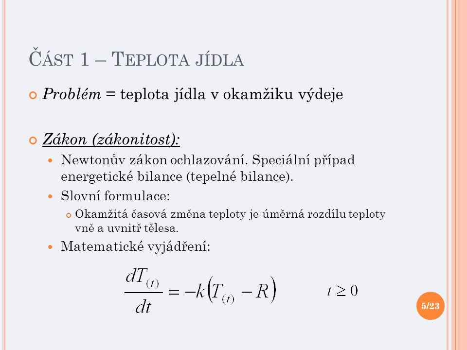 Č ÁST 1 – T EPLOTA JÍDLA Problém = teplota jídla v okamžiku výdeje Zákon (zákonitost): Newtonův zákon ochlazování.