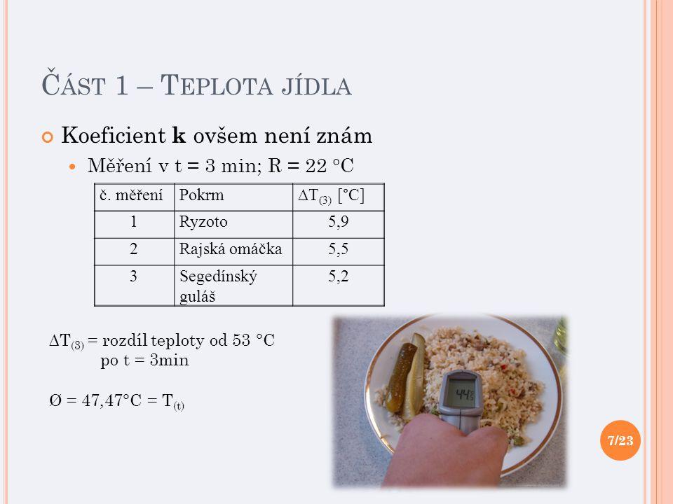 Č ÁST 1 – T EPLOTA JÍDLA Koeficient k ovšem není znám Měření v t = 3 min; R = 22 °C č.