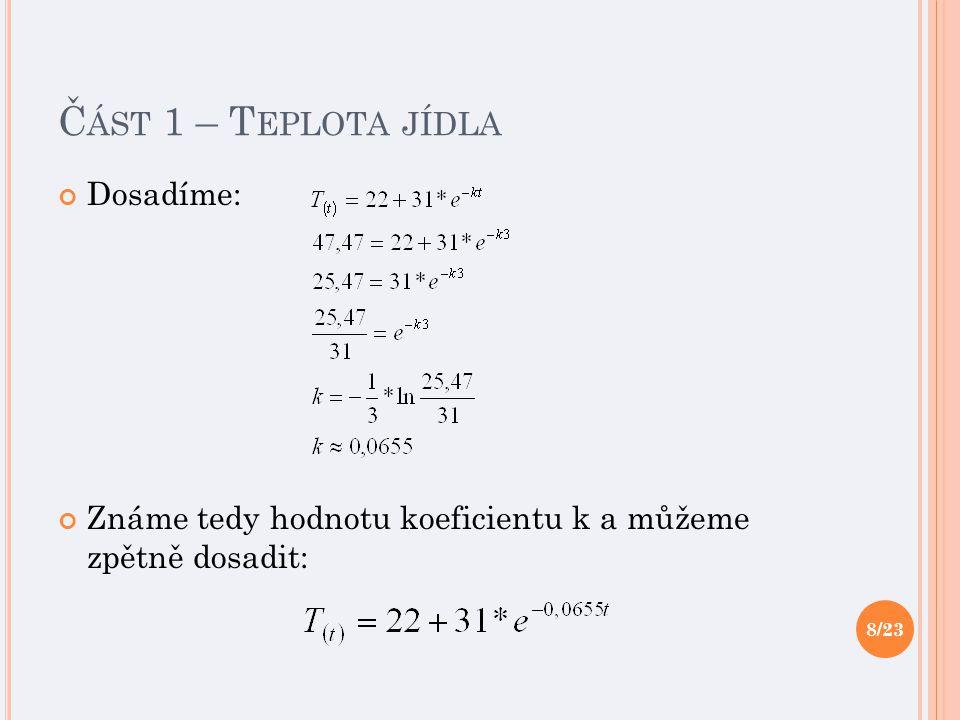 Č ÁST 1 – T EPLOTA JÍDLA Dosadíme: Známe tedy hodnotu koeficientu k a můžeme zpětně dosadit: 8/23