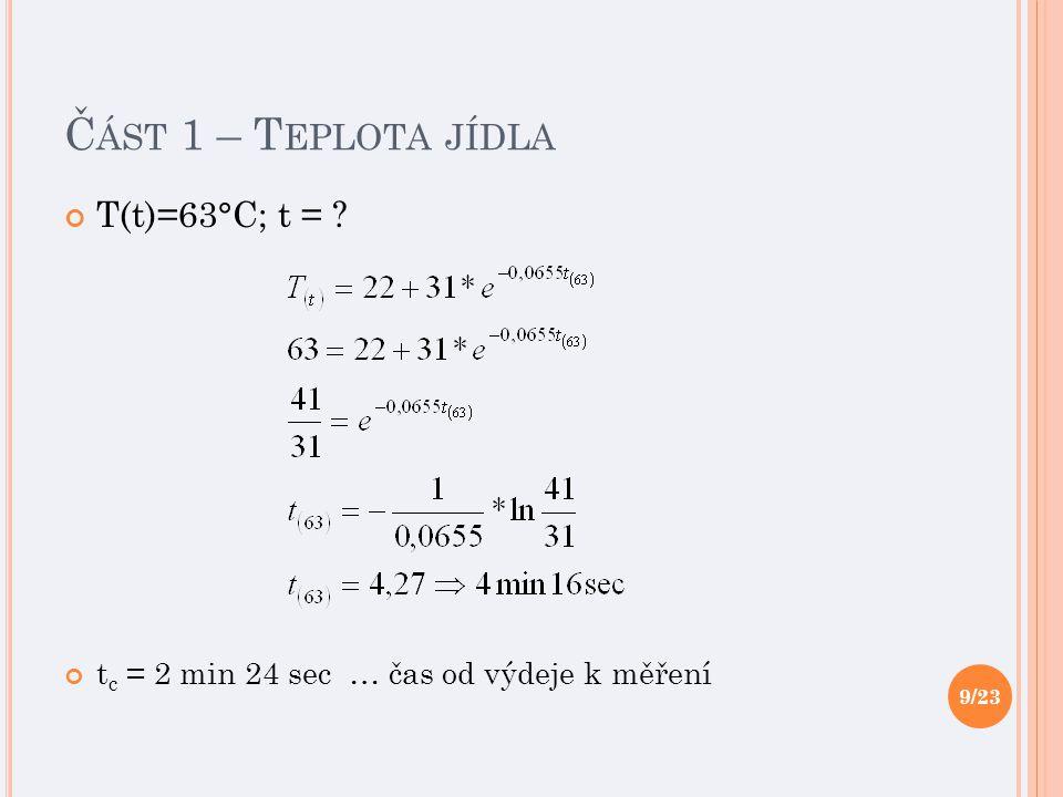 Č ÁST 1 – T EPLOTA JÍDLA T(t)=63°C; t = ? t c = 2 min 24 sec … čas od výdeje k měření 9/23