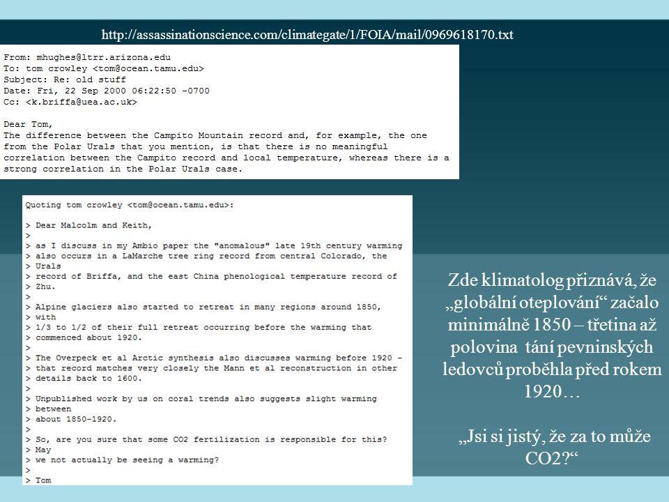 """http://assassinationscience.com/climategate/1/FOIA/mail/0969618170.txt Zde klimatolog přiznává, že """"globální oteplování začalo minimálně 1850 – třetina až polovina tání pevninských ledovců proběhla před rokem 1920… """"Jsi si jistý, že za to může CO2?"""