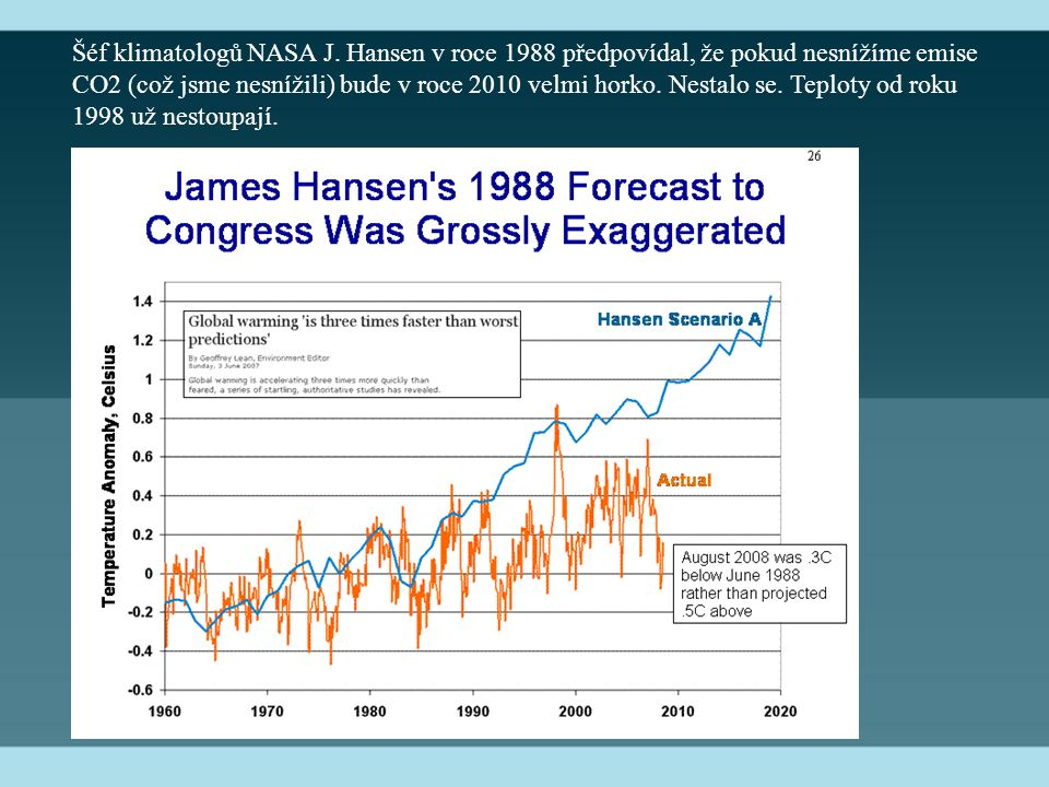 Šéf klimatologů NASA J. Hansen v roce 1988 předpovídal, že pokud nesnížíme emise CO2 (což jsme nesnížili) bude v roce 2010 velmi horko. Nestalo se. Te