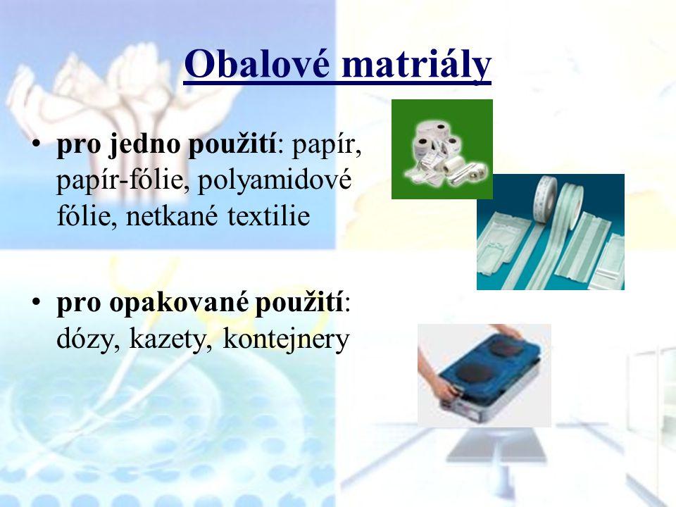 Obalové matriály pro jedno použití: papír, papír-fólie, polyamidové fólie, netkané textilie pro opakované použití: dózy, kazety, kontejnery