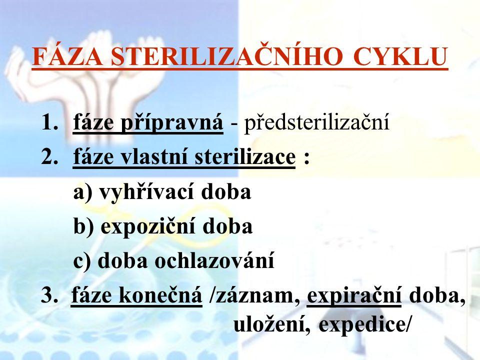 FÁZA STERILIZAČNÍHO CYKLU 1.fáze přípravná - předsterilizační 2.fáze vlastní sterilizace : a) vyhřívací doba b) expoziční doba c) doba ochlazování 3.
