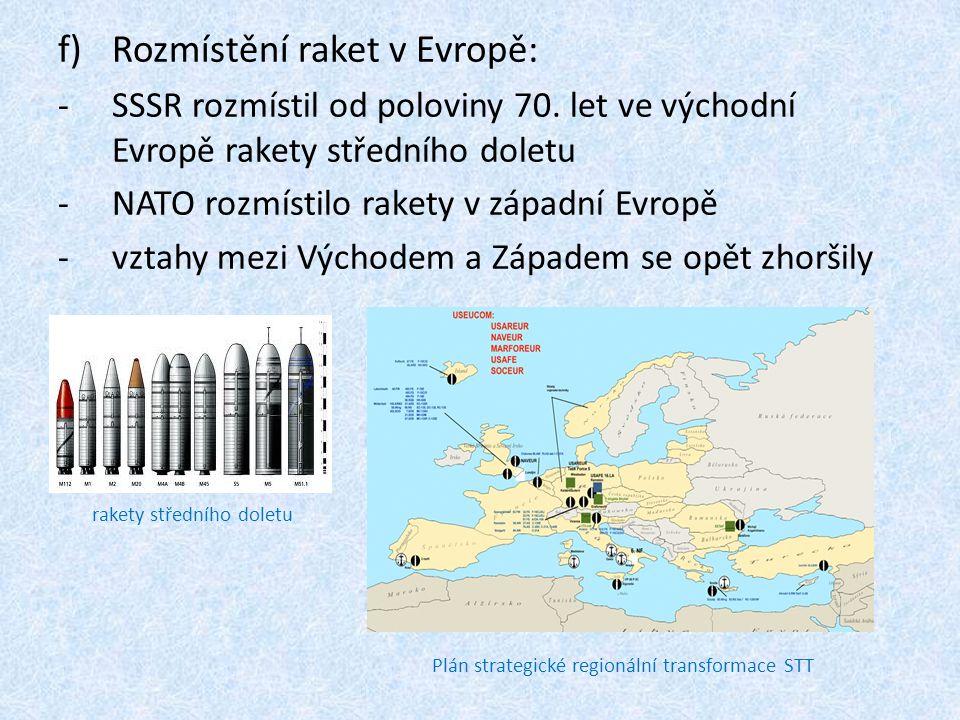 f)Rozmístění raket v Evropě: -SSSR rozmístil od poloviny 70.