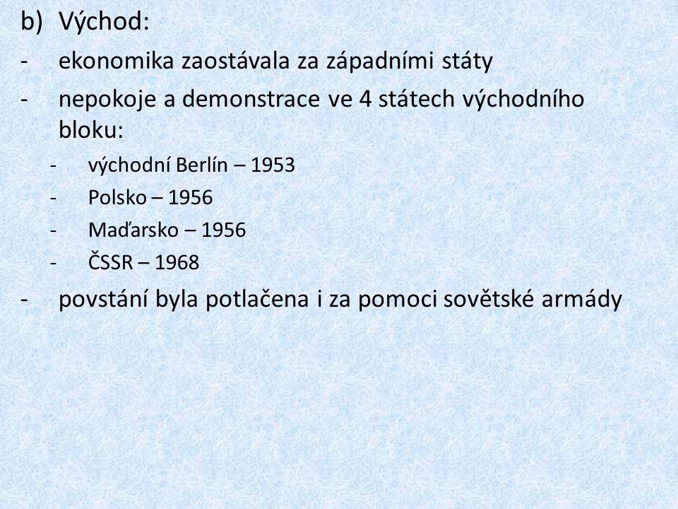 b)Východ: -ekonomika zaostávala za západními státy -nepokoje a demonstrace ve 4 státech východního bloku: -východní Berlín – 1953 -Polsko – 1956 -Maďarsko – 1956 -ČSSR – 1968 -povstání byla potlačena i za pomoci sovětské armády