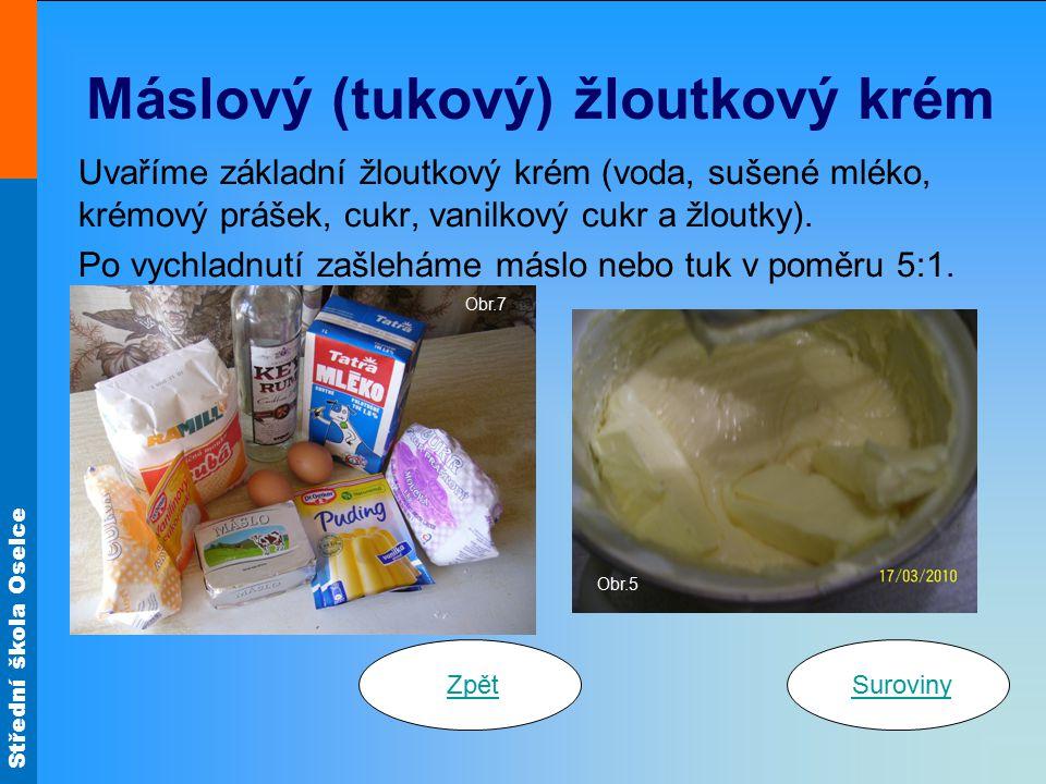 Střední škola Oselce Máslový (tukový) žloutkový krém Uvaříme základní žloutkový krém (voda, sušené mléko, krémový prášek, cukr, vanilkový cukr a žlout